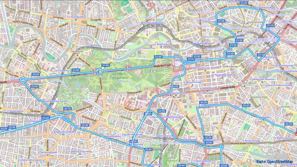 Critical Mass Berlin, 2014-12-26, Route